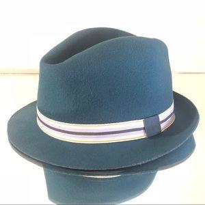 Emerald Teal Fedora Goldring Homburg Style Hat